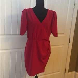 ASOS Red Faux Wrap Mini Dress size 14